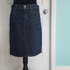 Denim midi length skirt